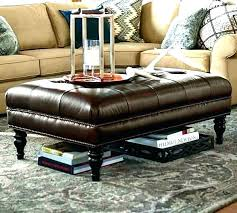 round leather ottoman coffee table. Tufted Ottoman With Shelf Round Leather Saddle Coffee Table .