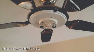 shut the power off to the ceiling fan remove the decorative glass cover for the light bulbs if needed