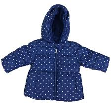 healthtex infant girls blue white polka dot winter coat bubble puffer jacket 18m size 18 months com