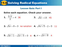 lesson quiz part i solve each equation check your answer 1 36