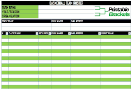 Roster Template Cool Basketball Roster Template Basketball Team Roster Template