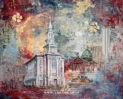 philadelphia temple fine art cold wax painting