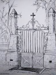fence drawing. Cemetery Gates Drawing Fence