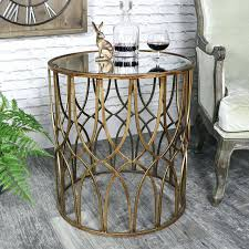 gold metal side table antique gold round metal side table with mirrored top vintage chic furniture
