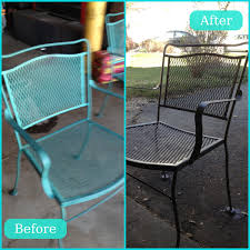 spray painting metal furnitureScarp off rust lightly sand and spray paint Patio Furniture Redo