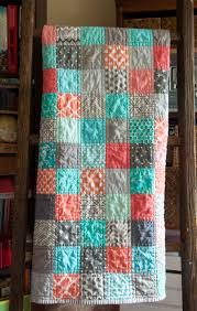 Best 25+ Patchwork quilt patterns ideas on Pinterest | Patchwork ... & Modern baby patchwork quilt Colors: corals, blue and grays Easy, quick quilt  More Adamdwight.com