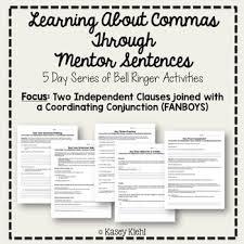 Mentor Sentence Anchor Chart Teaching Commas Through Mentor Sentences Fanboys