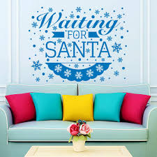 2017 snowflakes wall decals vinyl words waitting for santa es wall sticker art decor wall mural d 159 decal decor removable wall art