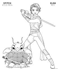 I'm pretty sure disney princess coloring books were my favorite, but i loved to color anything. Rey Elsa And Kylo Ren Stitch Disney Star Wars Coloring Pages Printable