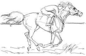 Race Horses Color Pictures Print Coloring Pages 7