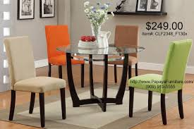 5pcs modern gl top round dining table and parson chair set 4 colors