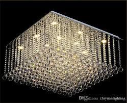 contemporary square crystal chandelier k9 crystal rain drop luxury flush mount led crystal light res de cristal for living room branch chandelier living