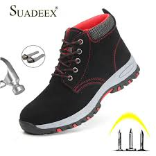 Designer Steel Toe Boots Suadeex Work Boots Steel Toe Cap Mens Safety Shoes Anti Smashing Construction Working Shoes Men Protect Boots For Male Plug Size Designer Shoes Rain
