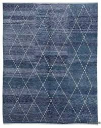 blue new contemporary hand knotted wool area rug 9 1 x