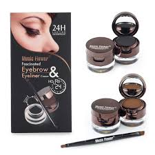 flower brand brown black gel eyeliner eyebrow powder makeup set kit waterproof long lasting