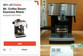 Coffee steam automatic espresso and cappuccino machine creates rich espressos and whips up your brew 20 oz. Target 40 Off Mr Coffee Steam Espresso Maker Cartwheel Today Only Only 23 99 Hip2save