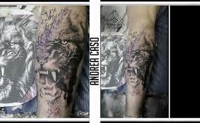 Leone Realistico Tatuaggio In Progress Andrea Caso Tattooing