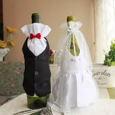 Wedding Decorations Bride And Groom Dress Wine Glass Champagne Bottle  Decoration Wedding Patry Cover Supplies