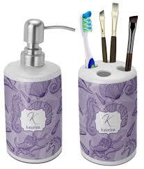 Purple Bathroom Accessories Set Sea Shells Bathroom Accessories Set Ceramic Personalized