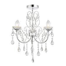endon bathroom tabitha semi flush ceiling light ip44 18w clear crystal glass detail chrome effect