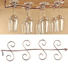 Buytra Under Cabinet Wine Glass Rack Stemware Holder for Home Bar, Holds up  to 8