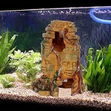 aquarium decoration hollow for fish tank diy resin ornament gift maya people mask hiding hole