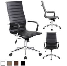contemporary leather high office chair black. Ribbed PU Leather High Back Office Chair Contemporary Black