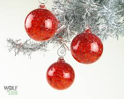 Drop dead gorgeous image of decorative red bauble blown glass Christmas  tree ornament