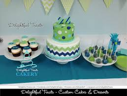 Navy Blue, Green and Aqua Baby Shower Cake, Cupcakes and Cakepops ...