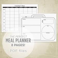 Daily Food Planner Meal Planner Printable Kit Grocery List Food Planner Daily Etsy