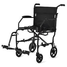 new medline ultra lightweight transport chair wheelchair with brakes black