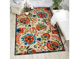 nourison aloha beige blue red orange green rectangular area rug alh17