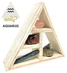 Aquarius <b>Zodiac</b> Crystal Healing Set/Tumbled Stones and Wooden ...