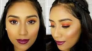 easy dewy orange spring makeup tutori