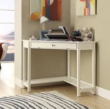 Small White Corner Desk With Single Drawer For Laptop