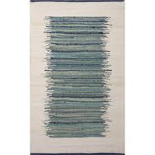 picture of jaipur prime naturals stripe pattern cotton blue ivory rug pri03