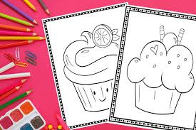 This simple cupcake coloring page depicts a cupcake with a swirled icing on top. Printable Cupcake Coloring Pages 20 Different Pages Fun Happy Home