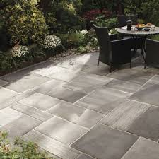 outdoor flooring over grass with depiction of several concrete styles to gain and