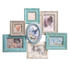 7 picture vintage multi photo frame blue neutral heart multi frame sass belle