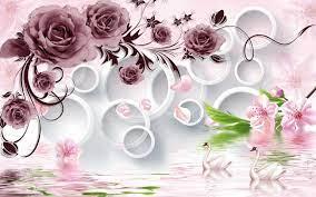 Rose Flowers On 3d White Circle ...