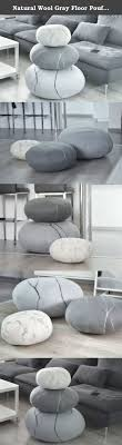 Natural Wool Gray Floor Poufs, Handmade Ottoman foot stool Ottoman Floor  cushions Pouf Floor pillows Seat cushions Felted wool stones Decorative  pillows ...