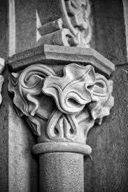 architectural detail photography. Black And White Architectural Detail Photograph Of A Column Decorated With Carved Ivy Details At The Photography