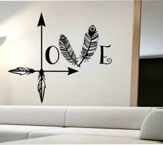 wall arts wall art vinyl stickers south africa arrow feather with love wall art on wall art vinyl stickers south africa with photo gallery of love wall art viewing 15 of 20 photos