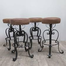 wrought iron bar chairs. Vintage German Wrought Iron \u0026 Leather Bar Stools, 1970s, Set Of 4 For Sale At Pamono Chairs R