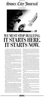 sioux city iowa runs a full front page anti bullying editorial the