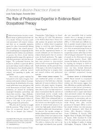 the role of professional expertise in evidence based occupational first page pdf preview