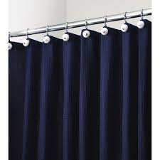 interDesign York Polyester Navy with A Waffle Weave Texture Solid Shower  Curtain