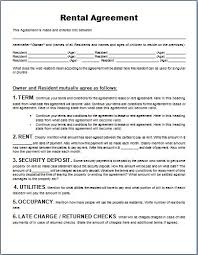 Generic Lease Agreement Template Rental Agreement Form Word
