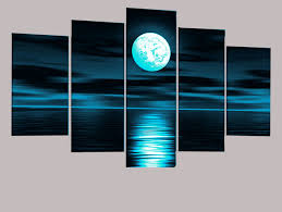 hand painted abstract oil painting on canvas blue moon modern art home decoration 5pcs set