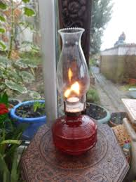 vintage lamplight farms austria cranberry color glass oil lamp ideal outdoors 1 of 3 see more